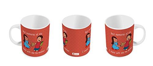 Indigifts Rakshabandhan Gifts For Brother Best Memories Of Life Quote Orange Coffee Mug 330 Ml