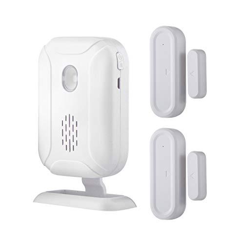 Hengzi Funkreichweite mit offenem Klingelton Betriebsbereich - 900FT | 36 Klingeltöne | 4 Lautstärkepegel | LED-Blinklicht (1pcs Receiver+2pcs Sensor)