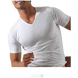 ROSSOPORPORA set da 3 magliette intime uomo in cotone elasticizzato modello collo a V. BIANCO L/5