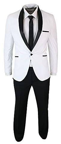 Smoking homme blanc noir col châle costume habillé couep ajustée soirée mariage fêtes