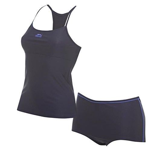 Speedo Tankini Nylon (Slazenger Damen Tankini in der Farbe schwarz/lila XL)