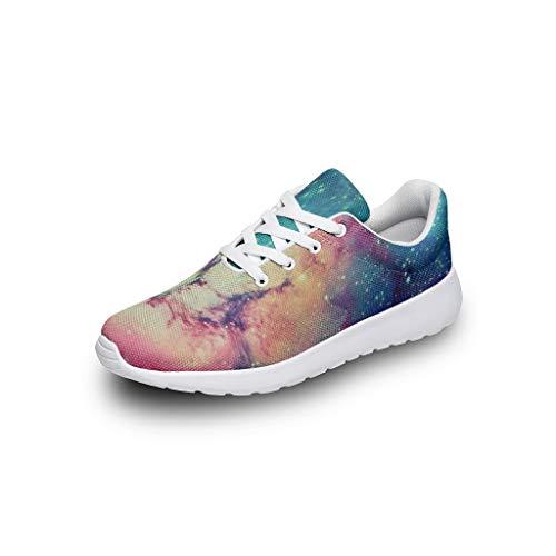 XHJQ8 Nebula Unisex Mädchen Laufschuhe - Galaxy Casual Sommer Schnürung Sneaker, atmungsaktiv, leicht, Laufschuhe, Weiß - weiß - Größe: 46 EU