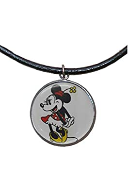 Pendentif en acier inoxydable, 30 mm, cordon en cuir, fait à la main, illustration Minnie Mouse 2