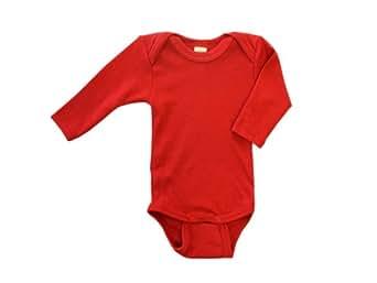 Baby Body langarm, Wolle Seide, Engel Natur, Gr. 50/56, Kirschrot