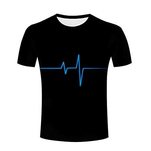 Men's Electrocardiogram Print Short Sleeves Casual T-Shirt Crew Neck Novelty Tee XL