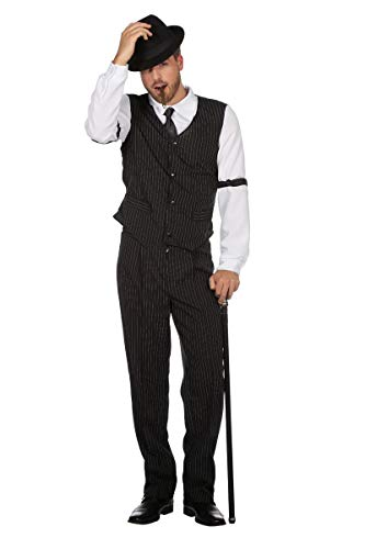Wilbers Gangsterkostüm Kostüm Gangster Mafia Mafiakostüm 20er Gentleman Boss Karneval Schwarz 52 (Mafia Themen Kostüm)