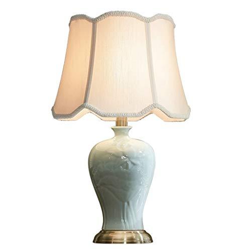 Lampe de table Salon Décor Bureau Lampe Rétro En Céramique Chambre Table De Nuit Lampes Double Tissu Shade Designs Simple Cour Style Décoration