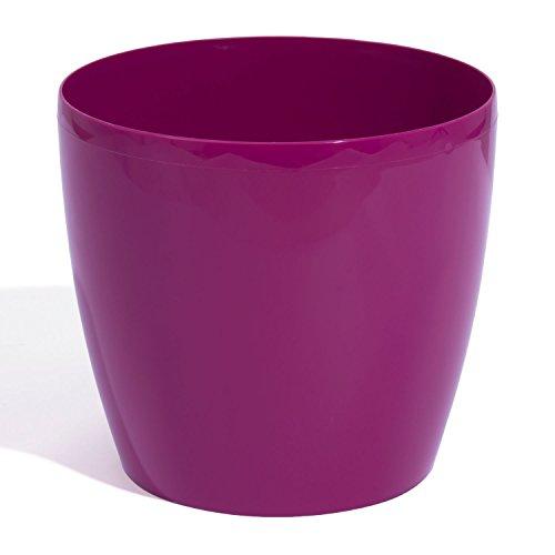 Pot de fleur cache pot bac a fleur en plastique rond hauteur 8,5 cm capacite 0,5 L violet