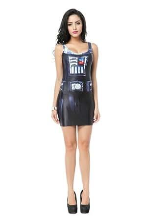 Frauen Mode schlanke EWOK Gedruckt kurzes Kleid(Weste Kleid) (Roboter)