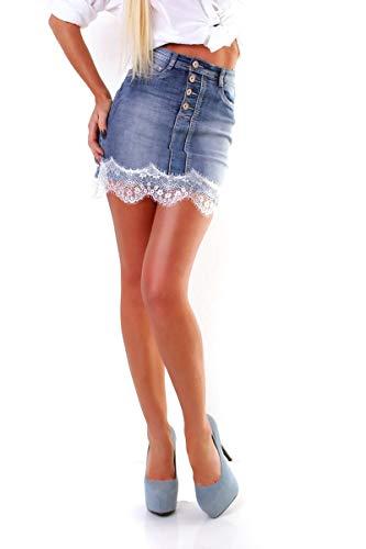 OSAB 4925 Fashion Damen Jeans Mini Rock Jeansskirt Jeansrock Denim Spitzensaum Knopfleiste (Jean-mini-rock)