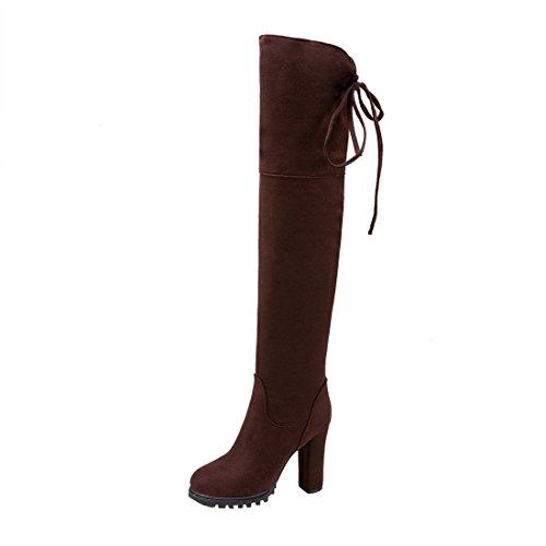 UH Damen Blockabsatz Overknee Stiefel High Heels Plateau Boots mit Schnürung und Fell Elegante Herbst Winter Schuhe