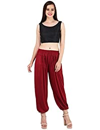 Myshka Women's Brown Beige Maroon Solid Cotton LycraHarem Pants (Pack Of 3) _HM0301007-free