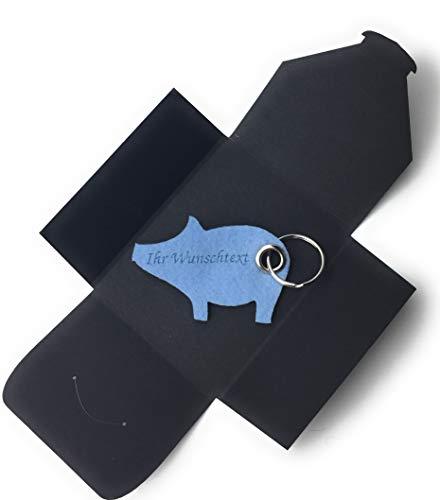 Schlüsselanhänger aus Filz - Schwein/Glücksschwein - hell-blau/EIS-blau - mit Namensgravur - als Geschenk, Glücksbringer mit Öse und Schlüsselring - Made-in-Germany
