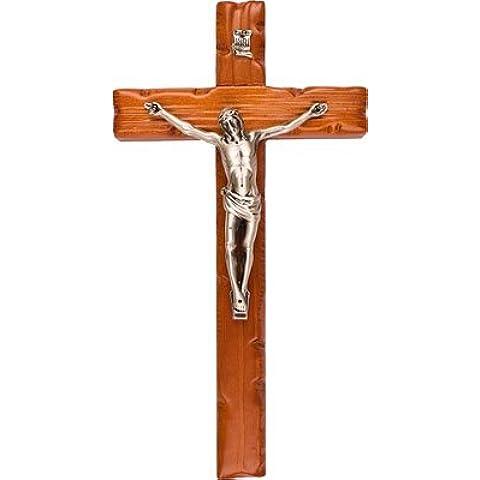 20,32 cm de madera de fresno con Cruz colgante de pared talladas a mano de Metal de plata Corpus BW40601