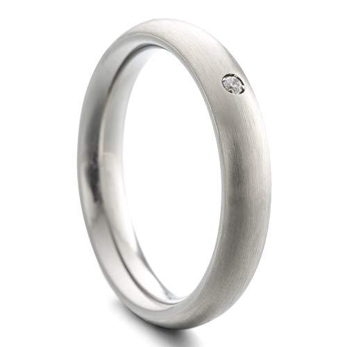 Heideman Ring Damen Paari aus Edelstahl Silber Farben matt oder poliert Damenring für Frauen mit Swarovski Stein Zirkonia Kristall Weiss Crystal Gr.62 hr7023-4-1-62