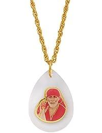 7acd1d9427d Memoir Crystal Aquarium encased Shirdi Sai baba chain pendant necklace, for  Men and Women