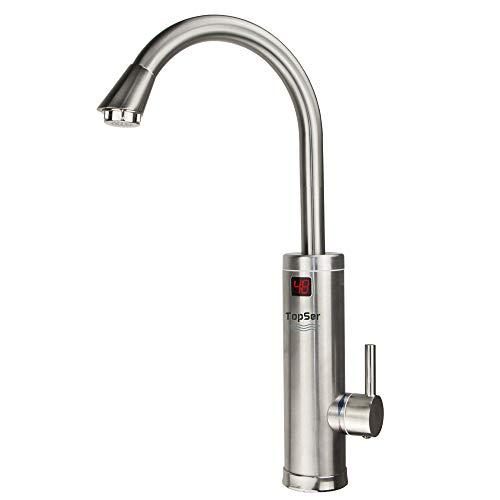 Elektrischer Wasserhahn Durchlauferhitzer - TopSer Sdr-18dc-3h Pro 360 Grad Schwenkbare Heiß- und Kalt-Elektroheizung Warmwasserbereiter mit Lcd-Temperaturanzeige für Küche (Durchlauferhitzer Boiler)