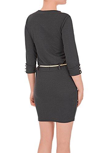 Laeticia Dreams Damen Minikleid mit Reißverschluss Zipper Gürtel S M L XL Grau