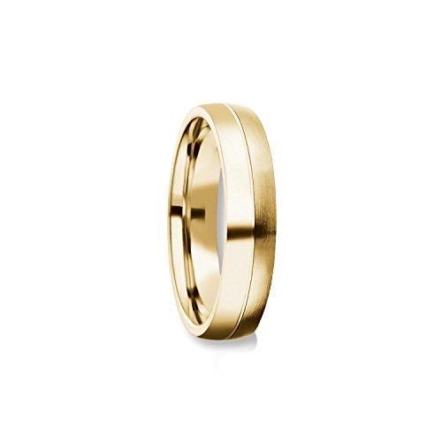 Herrenring Gold (Silber 925 hochwertig vergoldet) Ehering Trauring Hochzeitsring Herren flach Verlobung Verlobungsring Herren Herr Freundschaftsring modern schlicht FF375 VGGG64