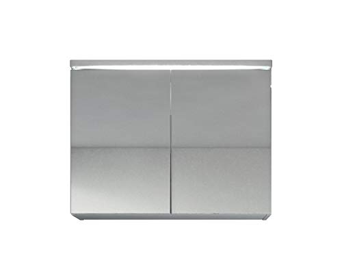 Badplaats B.V. Spiegelschrank Paso 80 cm Weiß - Schrank Spiegelschrank Spiegel Badezimmer Badmöbel Hängeschrank