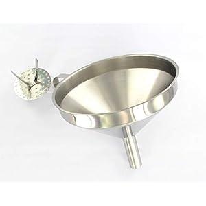 Fackelmann Trichter Ø 14 cm, Einfülltrichter für Flaschen und Gläser mit Siebeinsatz (Farbe: Silber), Menge: 1 Stück