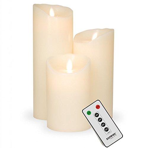 3er-Set: Sompex Flame LED Kerzen mit Fernbedienung in Elfenbein 12,5cm, 18cm, 23cm