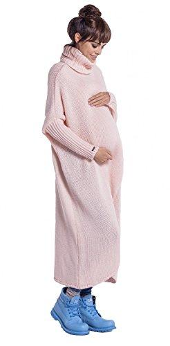 FOBYA - Maternité pull longue en maille de grossesse cache-coeur - femme - 499c Poudre Rose