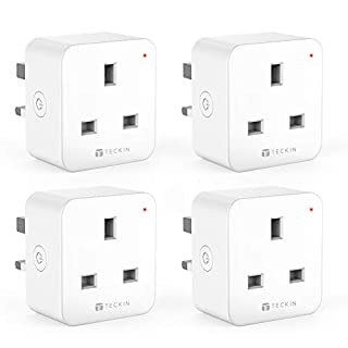 TECKIN WiFi Smart Plug, Mini Outlet Smart Socket, Energy Monitoring, Timing Function Control Your Devices from Anywhere, Works with Amazon Alexa and Google, No Hub Required(4 Pack)