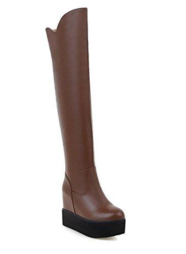 YUEER Frauen PU High-heeled Schuhe die über Knie hohe elastische Stiefel , brown , 39 (Brown Faux-pelz-stiefel)