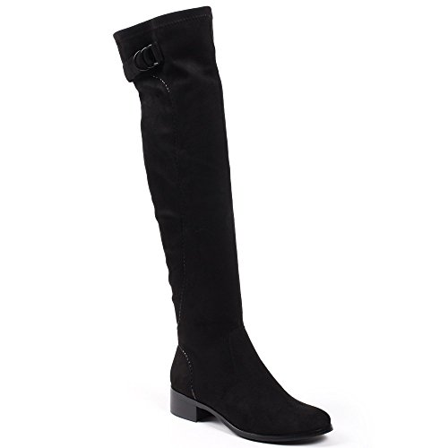 Ideal Shoes–cuissarde effetto camoscio con cinghia Andie Nero