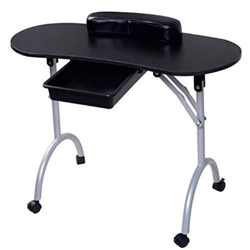 Table de manucure avec tiroir et repose-poignet et sac de transport,Black