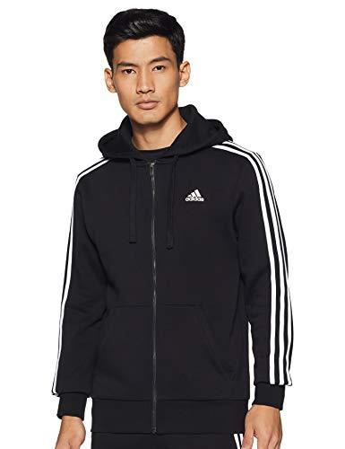 adidas Herren Jacke Essentials 3-Stripes Full Zip Brushed, Black/White, S, B47368 Fantasy-zip Hoodie