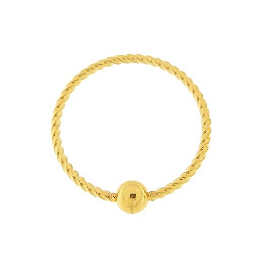 6MM Durchmesser - 20 Gauge Gold 316L Chirurgenstahl flexibel weiter Twister Captive Bead Nase Piercing Ring