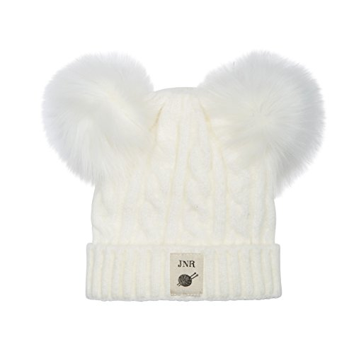Aran Traditions Kids Cream White Cable Knit Faux Fur Double Pom Pom Hat 3-6 Years - Cream Cable Knit