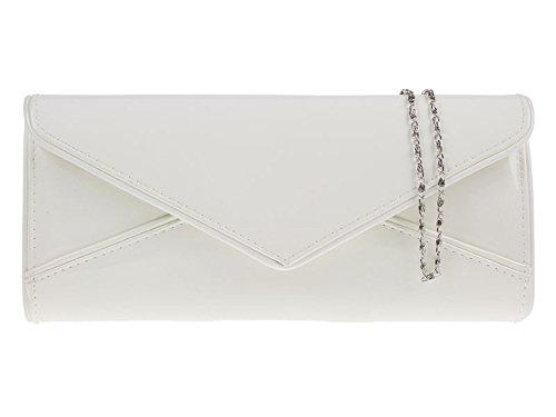 Haute for Diva's-Unterarmtasche für Damen, Kunstleder-Patent, Medium, weiß - weiß - Größe: One Size  -