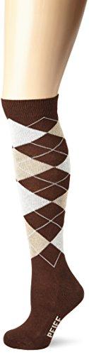 PFIFF Damen Reitstrumpf Kariert, Brown/beige, 34-36, 100322-117-34