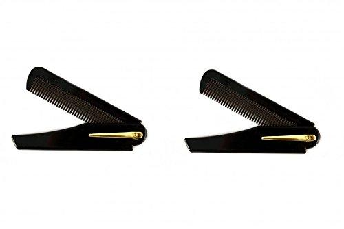 RAZZOOR 2 Stück Bartkamm aus Kunststoff mit Clip - klappbarer Taschenkamm