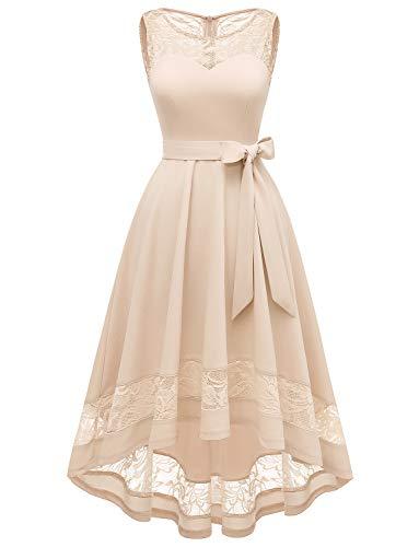 GardenWed Damen Kleid Cocktailkleid Elegant Unregelmässig Spitzenkleid Abendkleider für HochzeitChampagne M - A-line Brautkleid