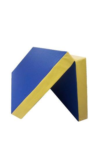 Niro Sportgeräte Turnmatte Weichbodenmatte Klappbar, Blau/Gelb, 100 x 100 x 8 cm, TM5