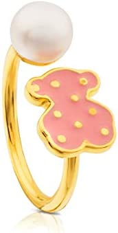Anillo TOUS Face, plata vermeil baño de oro de 18kt con esmalte rosa y perla. motifo: 1,07 cm