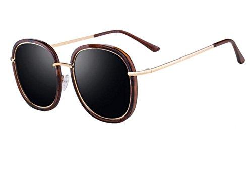 SHULING Sonnenbrille Offset Optische Sonnenbrille Big Box Retro Persönlichkeit, Augen, Kaffee Box/Schwarz Grau Film