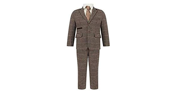Waniwarehouse 5pc Boys Brown Beige Tweed Check Suit Weddings Page Boy Peaky Blinder 1-15 Year