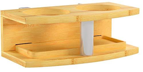 Nachttisch Nachtschrank, Nachtkonsole Getränkehalter Regal aus Bambus (Clips 21mm)