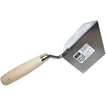 Stainless 120x60mm Internal Corner Trowel Wooden Handle DIY Tools Inside