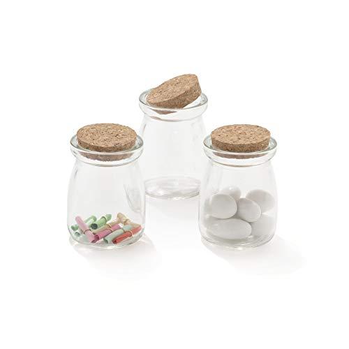 30 pezzi barattolo vetro 100ml con tappo in sughero porta confetti bomboniera con pergamene (budino)