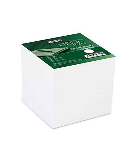 LANDRE 100420104 Zettelklotz lose weiß 9 x 9 x 8,5 cm 800 Blatt Zettelkasteneinlage blanko Zettelhalter Notizblock