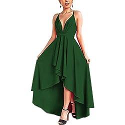 Abravo Mujer Vestidos Fiesta Sin Manga para Ceremonia Coctel Partido Largos Irregular Maxi Vestido Elegantes de Noche (Small, Verde)