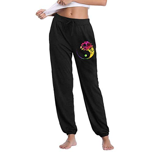 QIAOJIE Yogahosen für Damen Yin Yang Bonsai Tree Japanese Active Lounge Drawstring Waist Yoga Leggings Sweatpants with Pockets -