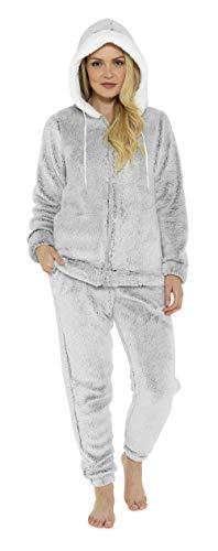 Hund Flanell-pyjama Set (CityComfort Schlafanzug Damen Winter   Pyjama Damen Warm Flauschig   Schlafanzug Lang mit Bündchen   Nachtwäsche Zweiteiliger Schlafanzüge Fleece Weich Elegant (48/50, Graue Kapuze))