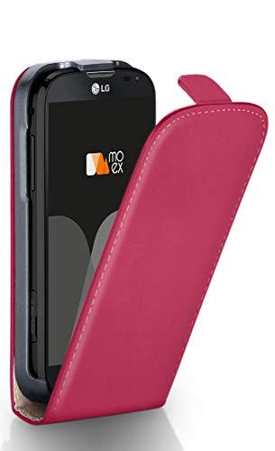 moex LG L90 | Hülle Pink 360° Klapp-Hülle Etui Thin Handytasche Dünn Handyhülle für LG L90 Case Flip Cover Schutzhülle Kunst-Leder Tasche